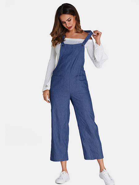 Yoins ACHIOOWA Blue Side Pockets Denim Jumpsuits