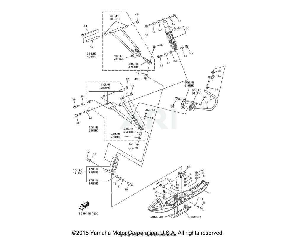 Yamaha OEM 8GK-23501-10-00 STEERING KNUCKLE ASSY (LEFT)