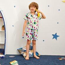 Satin Schlafanzug Set mit Reverskragen und Obst Muster