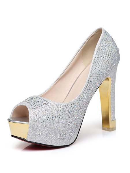 Milanoo Silver Peep Toe Prom Shoes Platform Crystal Glitter High Heels