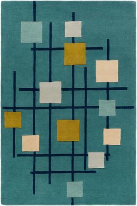 Forum FM-7201 5' x 8' Rectangle Modern Rug in Teal  Dark Blue  Sage  Olive  Beige  Light