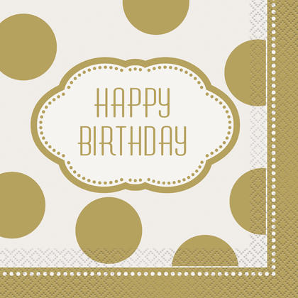 Golden Birthday Luncheon Napkins, 16ct For Birthday Party