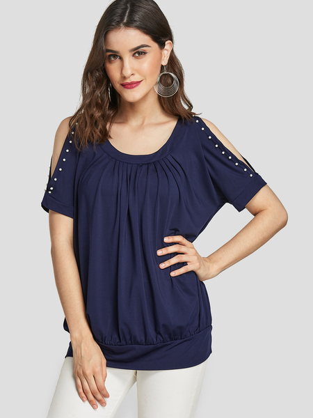 Yoins Navy Cold Shoulder Pleated Design Beaded Tee