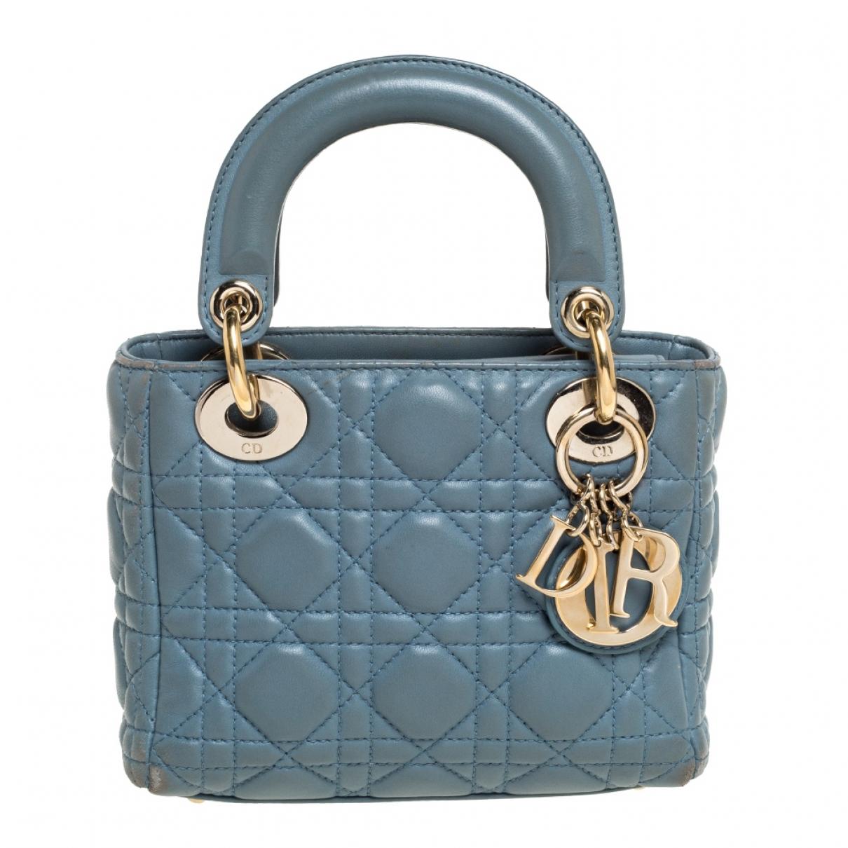 Dior Lady Dior Blue Leather handbag for Women N