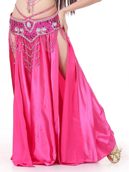 Milanoo Belly Dance Long Skirt High Slit Pleated Women Dancing Wear