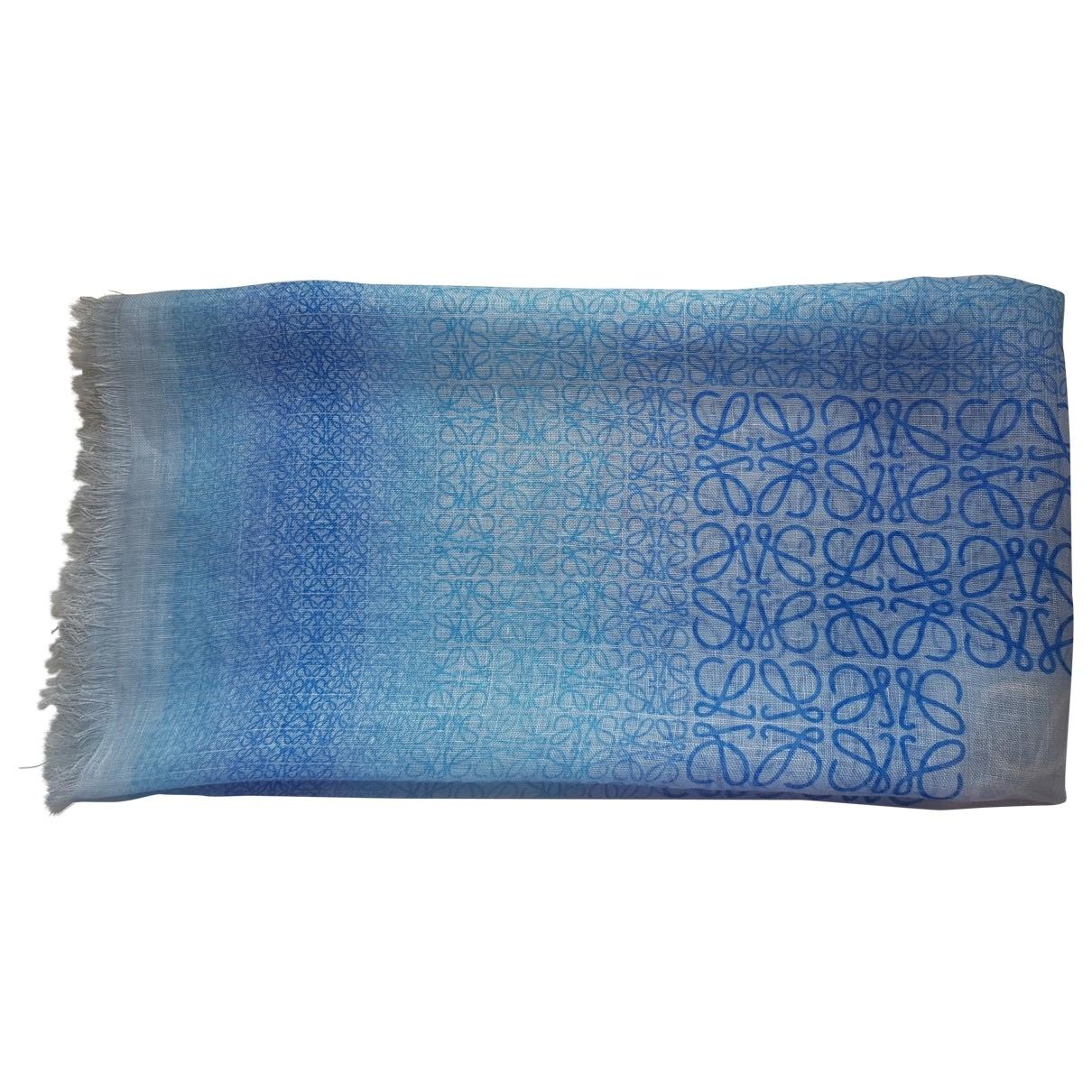 Loewe - Foulard   pour femme en lin - bleu
