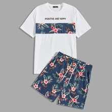 Conjunto de hombres top con estampado tropical con slogan con shorts