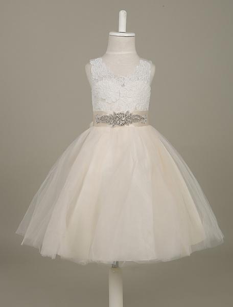 Milanoo Tutu vestidos de niña de las flores de tul de marfil rebordear sin mangas cintura cinta arco fajin del desfile  vestido de niña