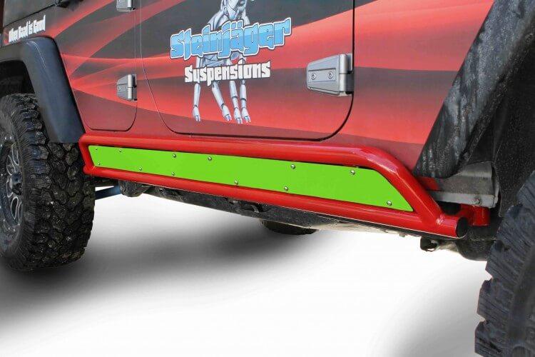 Steinjager J0044855 Rock Sliders Wrangler JK 2007-2018 4 Door Phantom Inserts Neon Green