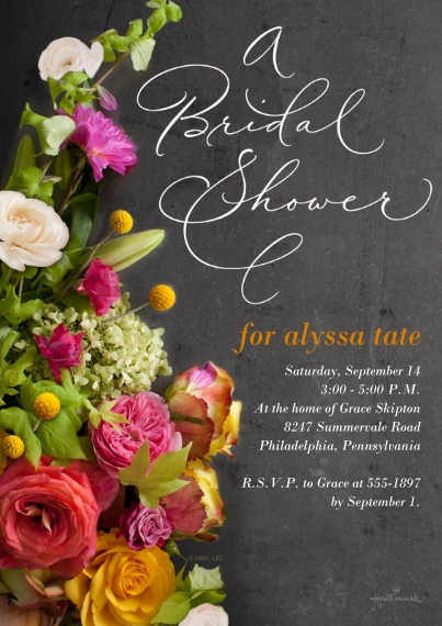 Wedding Shower Invitations Flat Matte Photo Paper Cards with Envelopes, 5x7, Card & Stationery -Floral Bouquet Photo