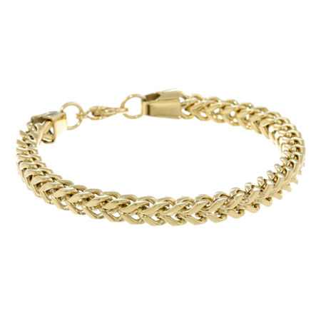 Mens Stainless Steel & Gold-Tone IP 9 6mm Foxtail Bracelet, One Size , Yellow