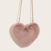 Bolsa bandolera con cadena en forma de corazon mullido