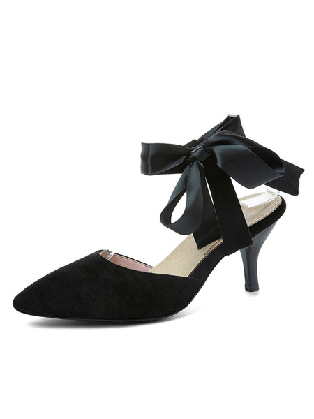Milanoo Kitten Heel Pumps Womens Bow Pointed Toe Slingback Low Heel Pumps