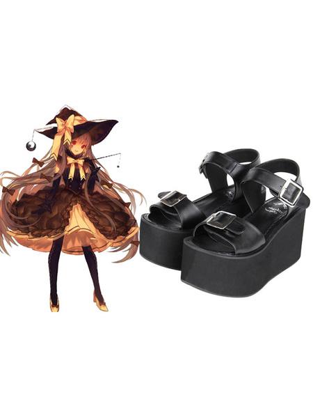Milanoo White/Black Lolita Sandals High Platform Square Buckles Ankle Strap