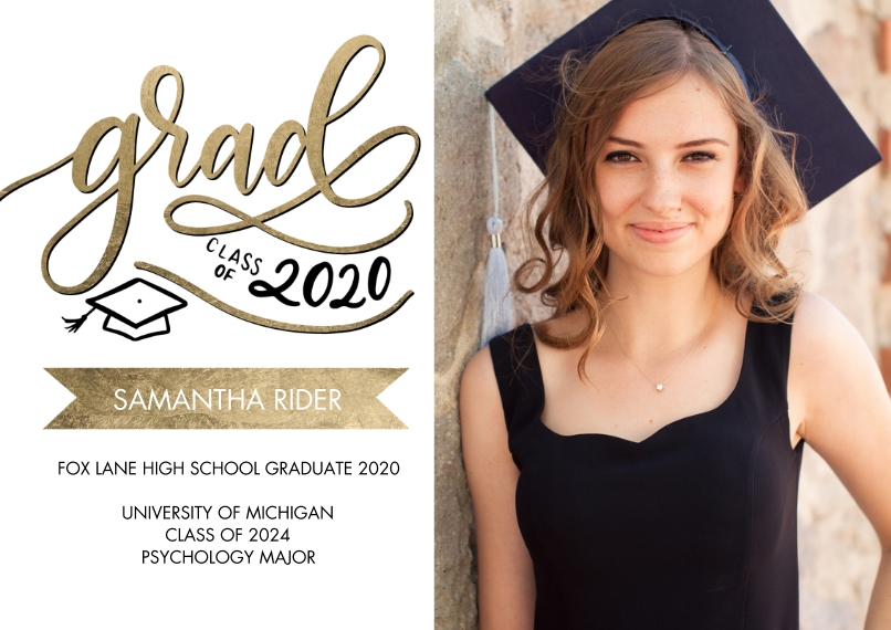 2020 Graduation Announcements 5x7 Cards, Premium Cardstock 120lb with Rounded Corners, Card & Stationery -Grad Class of 2020 Banner by Tumbalina