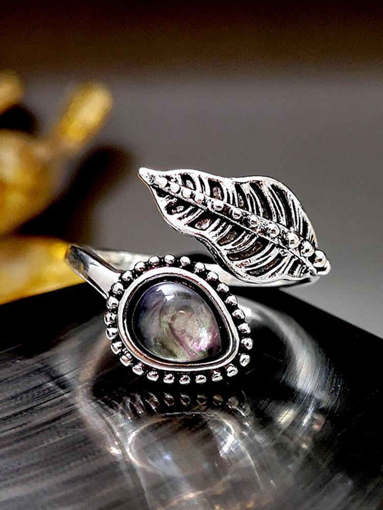 Vintage Shell Moonstone Ring Creative Leaves Open Women Ring