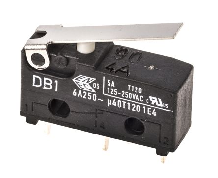 ZF SPDT-NO/NC Short Lever Microswitch, 6 A @ 250 V ac