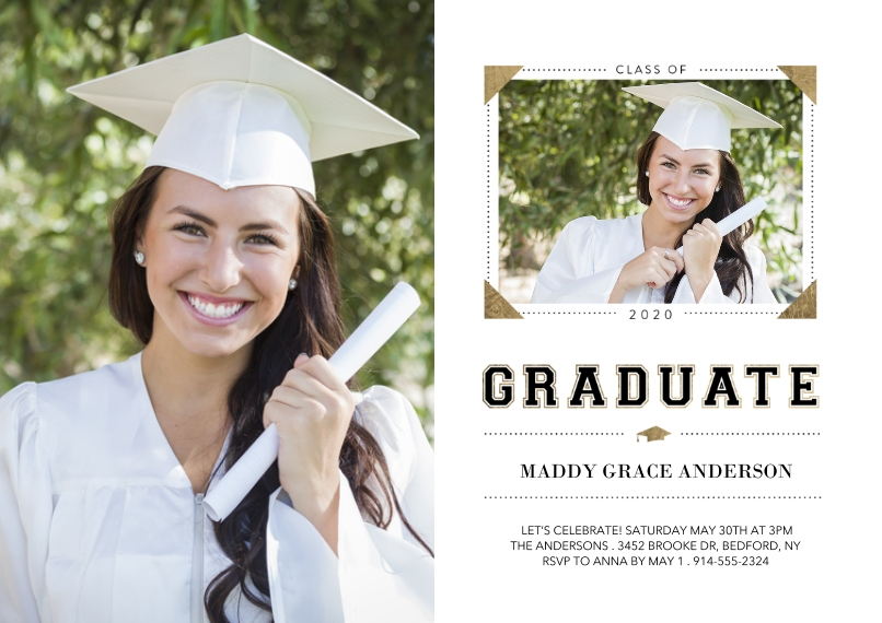 Graduation Announcements 5x7 Cards, Premium Cardstock 120lb with Rounded Corners, Card & Stationery -Class of 2020 Memories by Tumbalina