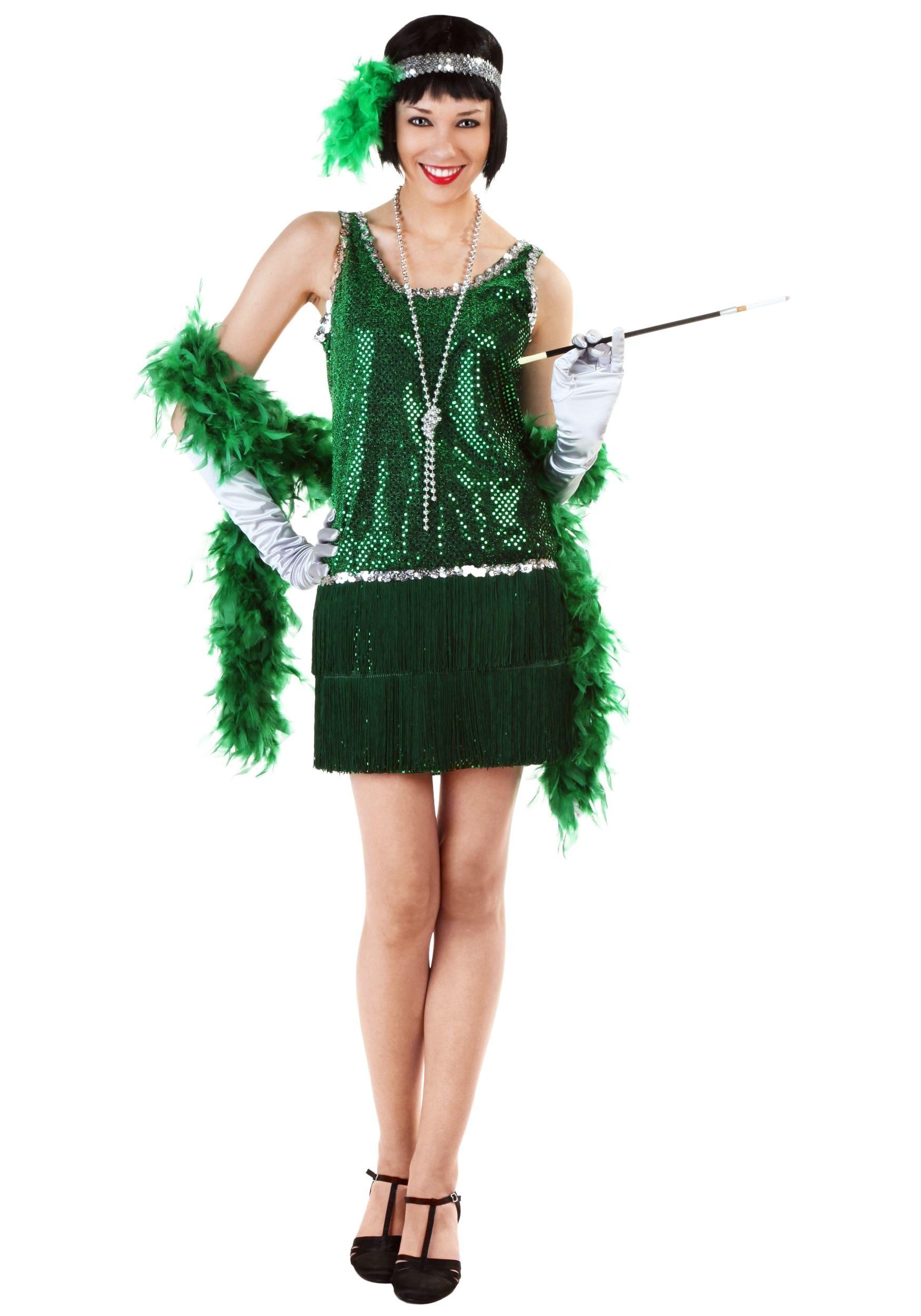 Sequin & Fringe Green Flapper Costume For Women