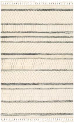 Meknes MEK-1001 6' x 9' Rectangle Global Rug in Cream  Charcoal  Medium