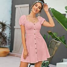 Button Through Bustier Milkmaid Dress