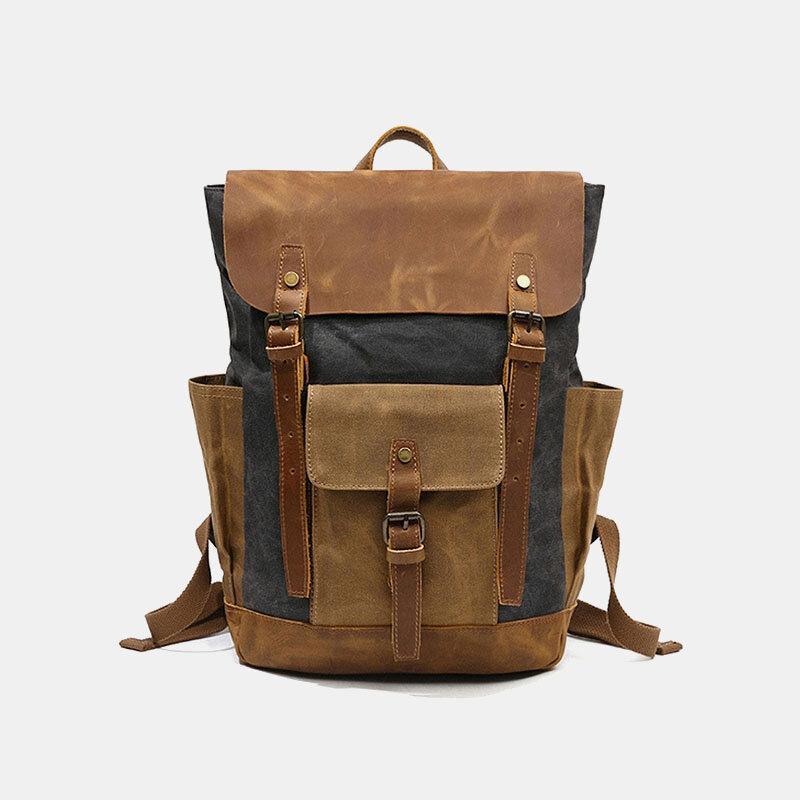 Men Genuine Leather Multi-function Travel Backpack
