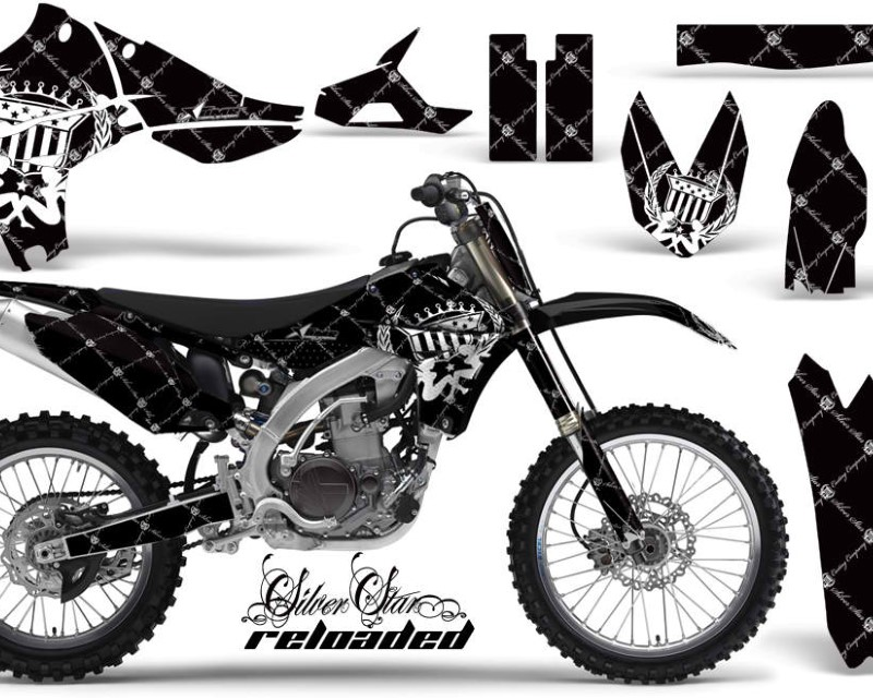 AMR Racing Graphics MX-NP-YAM-YZ450F-10-13-SSR W K Kit Decal Sticker Wrap + # Plates For Yamaha YZ450F 2010-2013áRELOADED WHITE BLACK