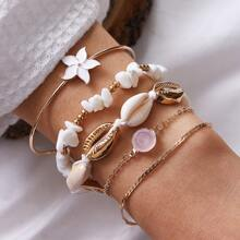 5pcs Flower & Shell Decor Bracelet
