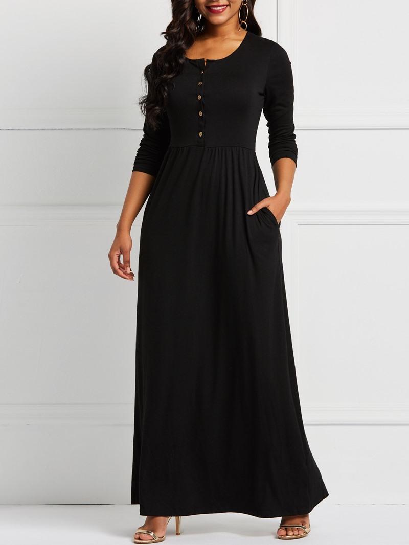 Ericdress Long Sleeve Single-Breasted Floor-Length Fall High-Waist Dresses