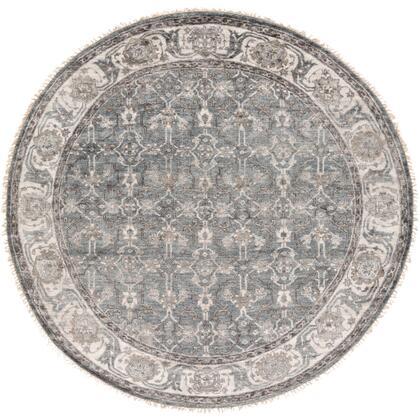 Theodora THO-3001 8' Round Traditional Rugs in Medium Gray  Light Gray  Camel