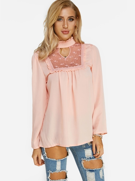 Yoins Pink Lace Insert Long Sleeves Top