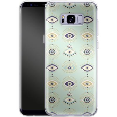 Samsung Galaxy S8 Plus Silikon Handyhuelle - Evil Eyes Mint von Cat Coquillette