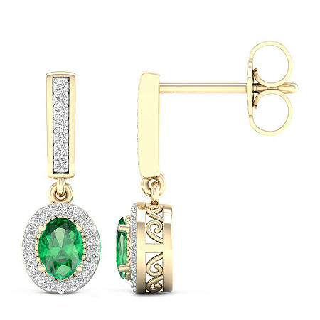 Genuine Green Emerald 10K Gold Drop Earrings, One Size , No Color Family