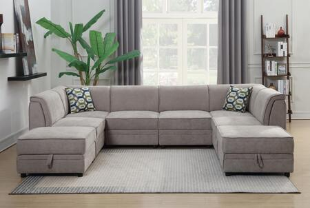 Charlotte 2026-8PC Modular Sectional Sofa with 2 Ottoman Included  Piped Stitching  Plywood Construction and Polyester in
