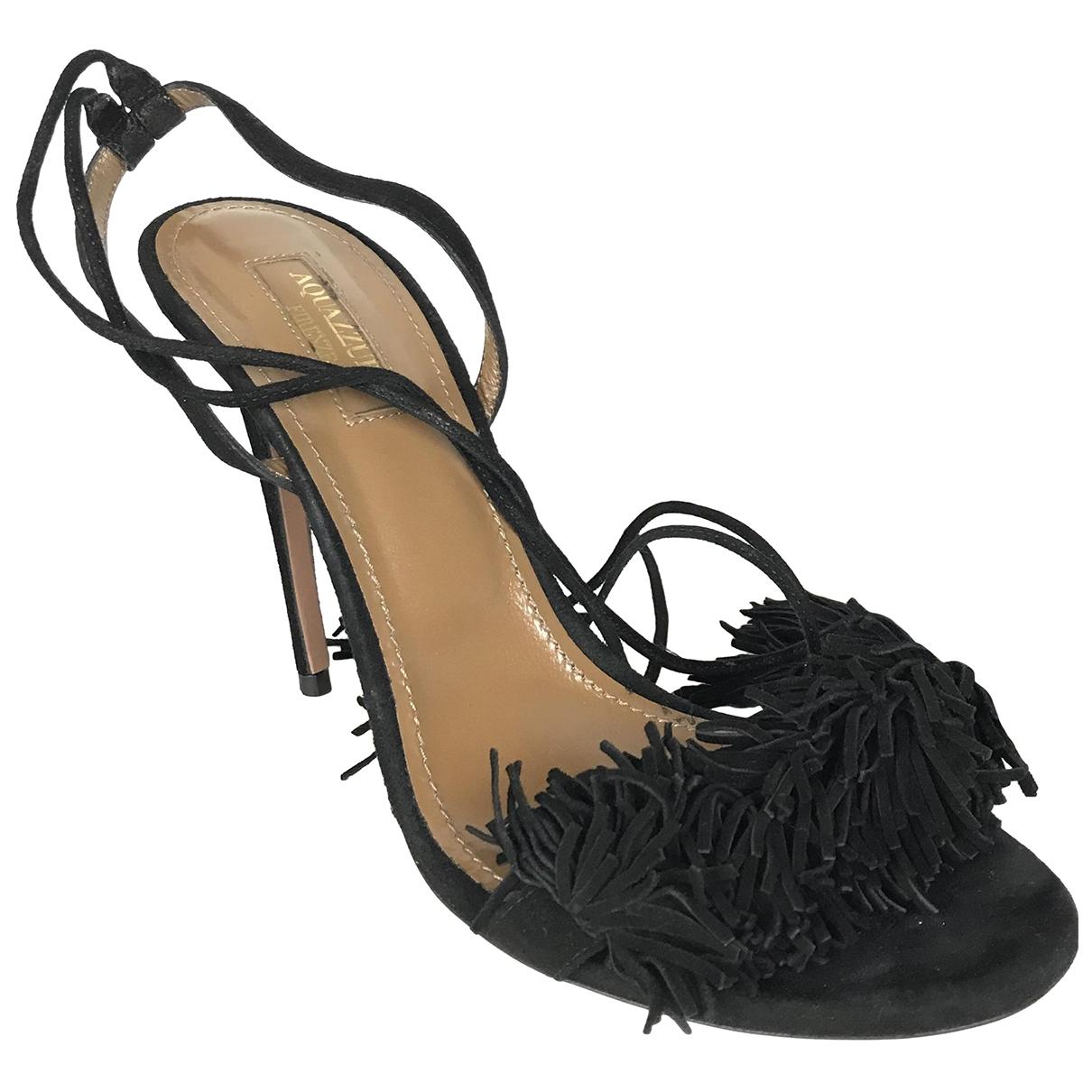 Aquazzura Wild Thing Black Suede Sandals for Women 38 EU