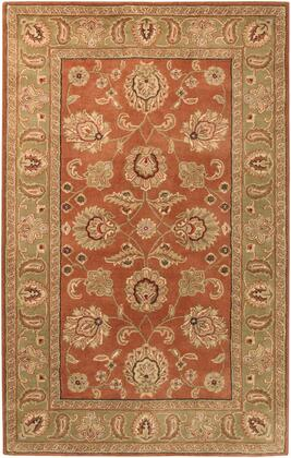 Crowne CRN-6019 6' x 9' Rectangle Traditional Rug in Camel  Dark Brown