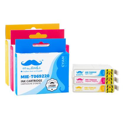 Compatible Epson Stylus NX415 cartouches d'encre couleur cyan/magenta/jaune 3-paquet combo de Moustache