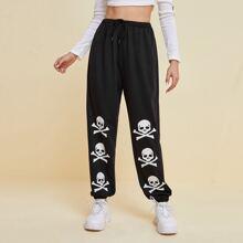 Halloween Skull Graphic Sweatpants