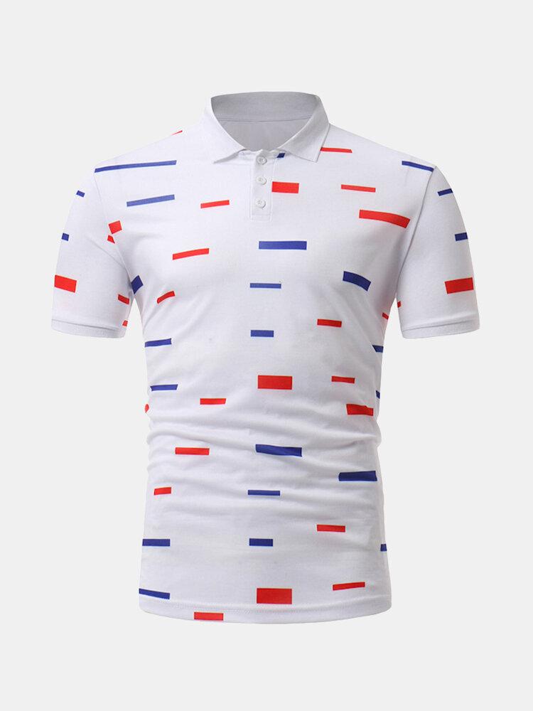 Mens Stylish Printed Slim Fit Summer Business Casual Golf Shirt