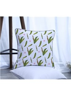 Green Leaves Pattern Polyester One Piece Decorative Square Throw Pillowcase
