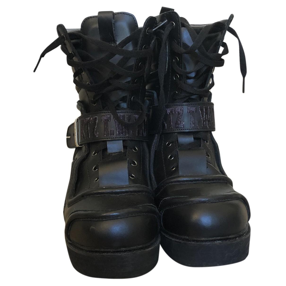 Ktz - Bottes.Boots   pour homme en cuir - noir