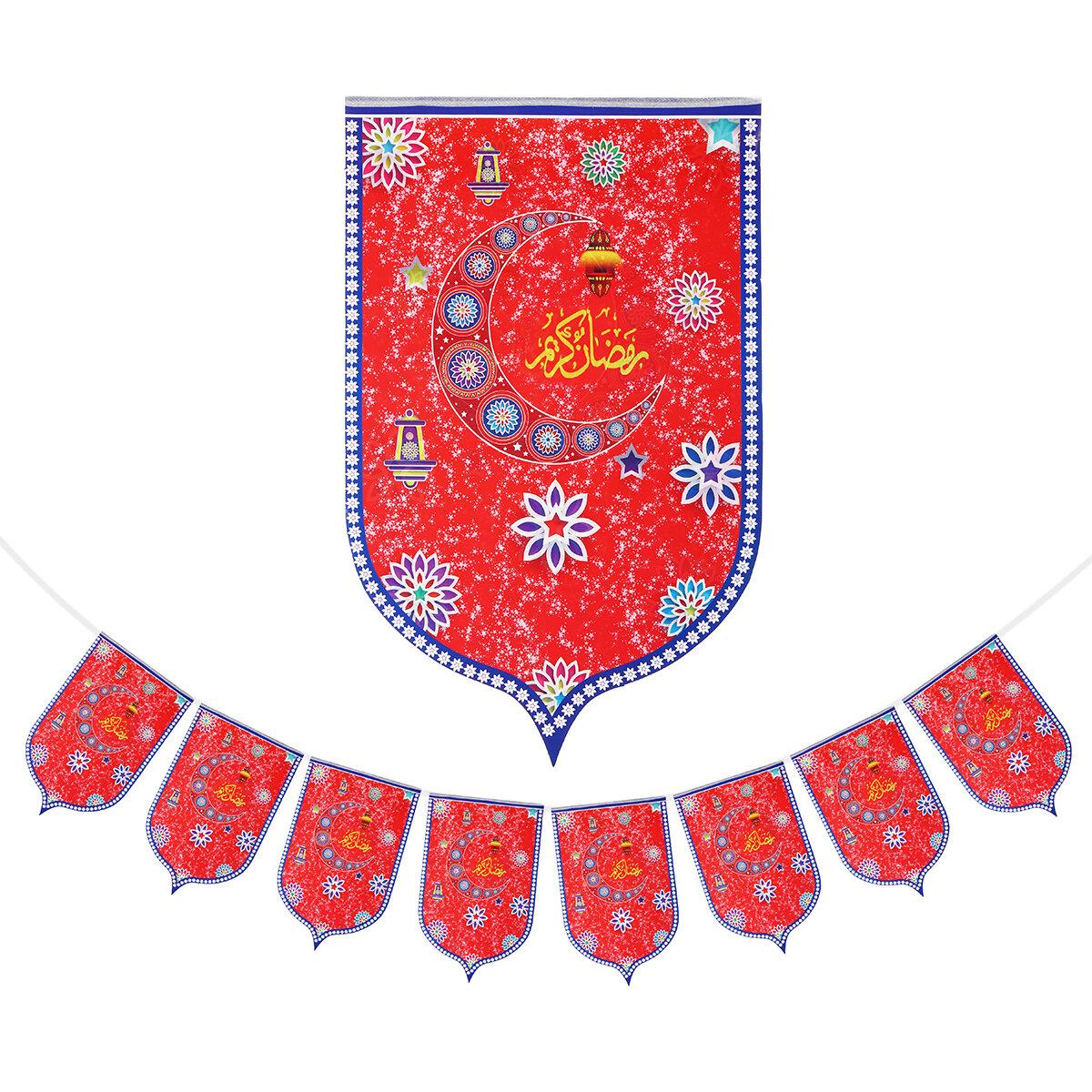 8Pcs Ramadan Mubarak Arabic Bunting Islamic Celebration Banner Flag Decorations