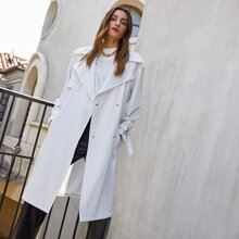 Double Button Front Self Belted Striped Trench Coat