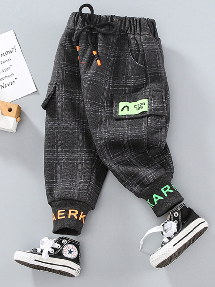 LW Lovely Casual Grid Print Grey Boy Pants