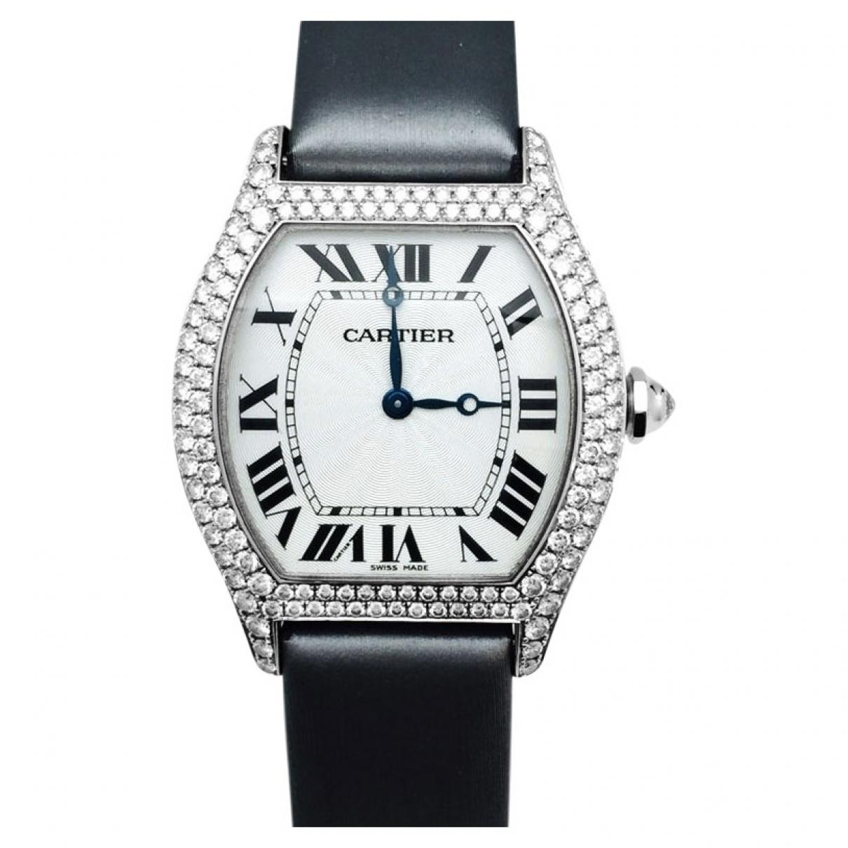 Cartier Tortue Uhr in  Schwarz Weissgold