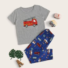 Jungen Cartoon Auto Print PJ Set
