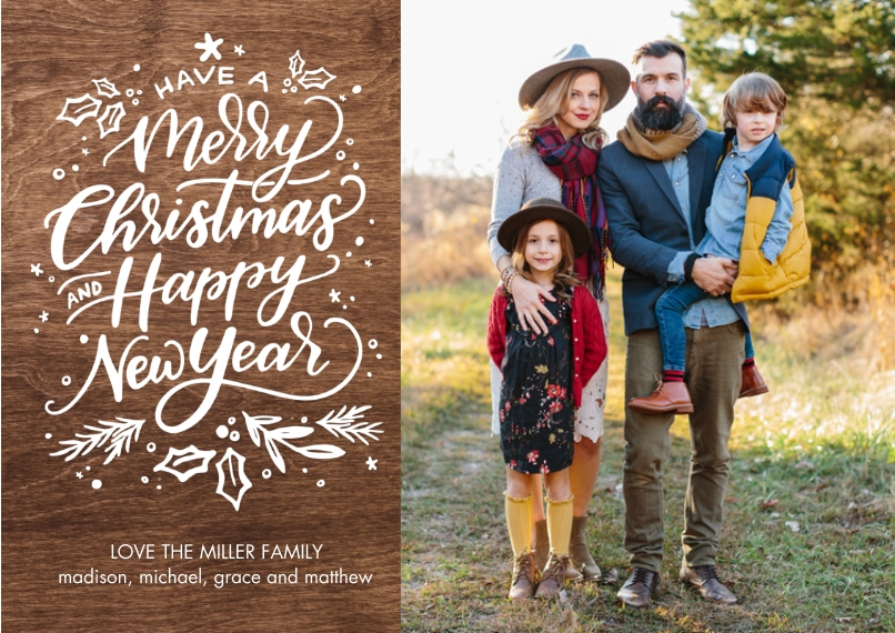 Christmas Photo Cards Flat Matte Photo Paper Cards with Envelopes, 5x7, Card & Stationery -Christmas Happy New Year by Tumbalina