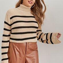 Plus Striped Pattern Turtleneck Split Cuff Sweater