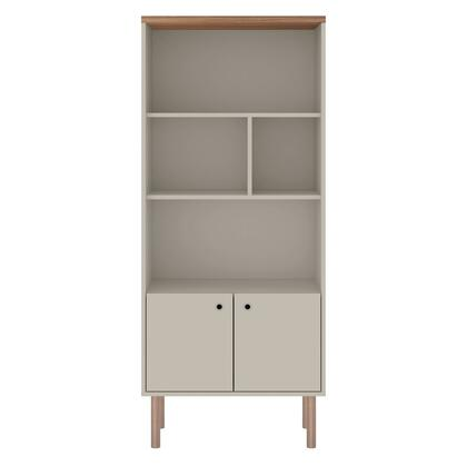 Windsor Collection 2LC1 Display Bookcase Cabinet with 2 Doors  Scand inavian Modern Style  Melamine Frame and Solid Eucolyptus Wood Feet in Matte Off