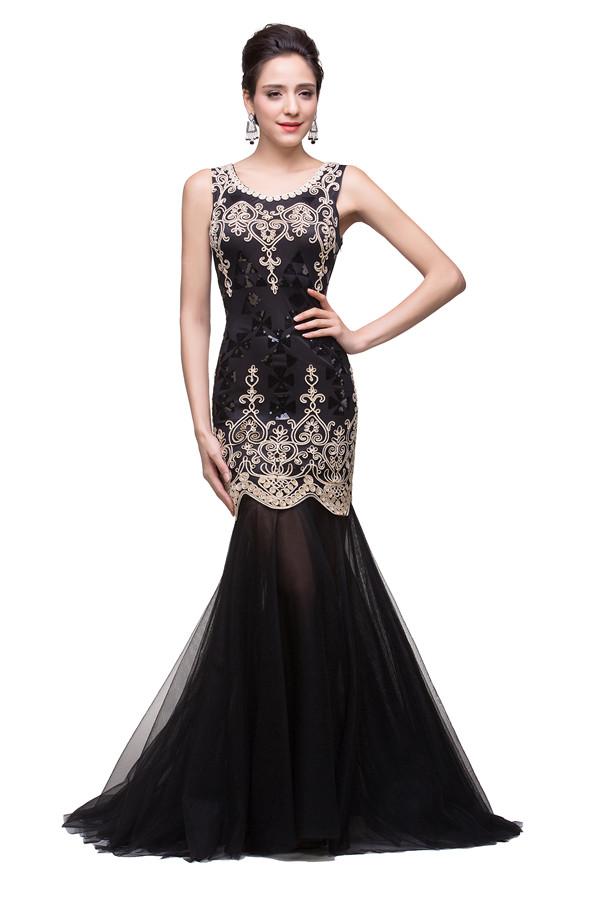 GIOVANNA | Sirene scoop longueur de balayage robes de soiree noirs avec des paillettes